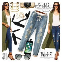 """""""Army green coat"""" by vanjazivadinovic ❤ liked on Polyvore featuring Ray-Ban, Sheinside and polyvoreeditorial"""