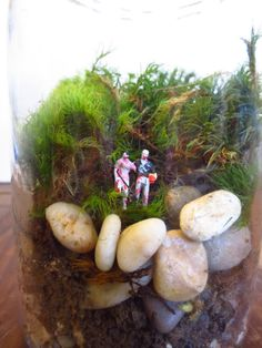 I Think We Are Happier as Zombies Dear....Terrarium Miniatures Romantic Zombie Couple Tiny People Terrarium Decor