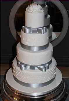 Chic White And Silver Wedding CakeI Would Use Tiffany Blue Ribbon