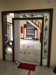 ideas office glass door design home Wooden Partition Design, Living Room Partition Design, Room Partition Designs, Wooden Door Design, Front Wall Design, Tv Wall Design, House Design, Drawing Room Furniture, Bedroom Furniture Design