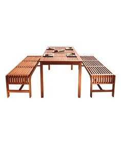 VIFAH Malibu Straight Three-Piece Outdoor Bench Dining Set on #zulily