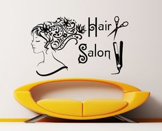 Wall Decal Beauty Salon Hair Spa Fashion Girl Woman Face Haircut Scissors Dryer Styling Decals Vinyl Sticker Wall Decor Art Mural KV-4
