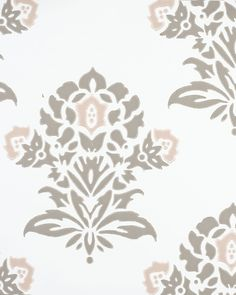 Jaipur Wallpaper-Flint, for 2 freestanding tub walls, chandelier above (with shelves mounted over) Painting Wallpaper, Of Wallpaper, Stripped Wallpaper, Big Girl Bedrooms, Shades Of White, Textured Walls, Jaipur, Decoration, Paint Colors