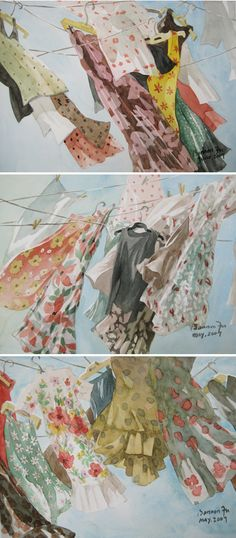 Bannon Fu; Chinese born California based artist. Watercolor. Clothes Line, Guache, Beaux Arts, Watercolor Paintings, Watercolour, Love Art, Amazing Art, Art Photography, Contemporary Art