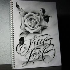 True Love. #blackandgrey #sketch #pencil #drawing #script #lettering #calligraphy #rose