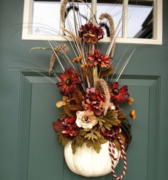 Fall/Autumn door-hanger. by WithinSeasonSilks via etsy