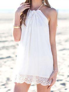 White Lace Hem Dress
