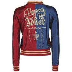 Suicide Squad Varsity Jacket (€71) ❤ liked on Polyvore featuring outerwear, jackets, red jacket, bomber jacket, college jacket, letterman jackets and varsity style jacket
