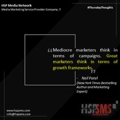 It's very narrow-minded to think on the campaign level. Think holistically about growth prepares you to continue to evolve your marketing to fuel growth. HSP Media Network (Media Marketing Service Provider Company) #thursdayvibes #thursdaythoughts #marketingthoughts #thoughtsoftheDay #marketing #thursday #thursdaymotivational #bulksms #smsmarketing #marketingquote #hspsms #hspmedianetwork #mediocre #marketers #campaign #growth #neilpatel Marketing Quotes, Email Marketing, Digital Marketing, Customer Survey, Think On, Bestselling Author, Messages, Thoughts, Motivation