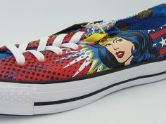 Wonder Woman is so Bloody Sexy on a Pair of Chucks! Dc Converse, Chuck Taylor Sneakers, Cute Shoes, Stitches, Geek Stuff, Wonder Woman, Pairs, Superhero, Sexy