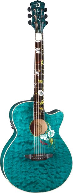 Luna Guitars - Moonflower Custom - Love this one! Teresa wants this too! My very favorite flower and this is the first year we didn't grow Moonflowers. My reward guitar!!