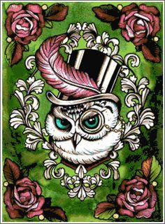 Trippy Green Owl Cross Stitch Printable Needlework Pattern - DIY Crossstitch Chart, Relaxing Hobby, Instant Download PDF Design