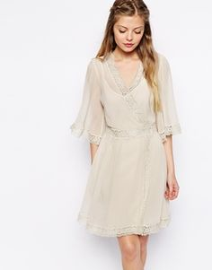 ASOS Skater Dress With Lace Inserts And Wrap Front. I want this in the blue color! So lovely!
