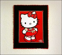"An adorable ""Hello Kitty"" print on hand painted canvas accented with hearts, ribbons, pearls, and bows <3 Perfect for a little girls nursery or playroom. Super Cute!"