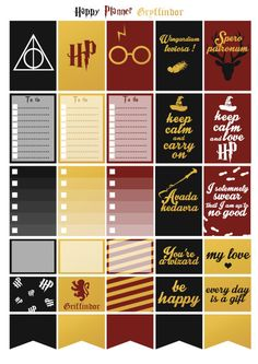 Printable stickers Harry Potter Gryffindor house | 3 pdf | Instant download…