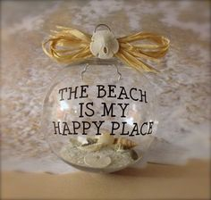 Nautical Ornament Beach Christmas Ornament Nautical Decor--this is a great idea for favorite beach destinations, put the year and place. Beach Christmas Ornaments, Nautical Christmas, Christmas Balls, Christmas Holidays, Christmas Decorations, Clear Ornaments, Shell Ornaments, Painted Ornaments, Christmas Wood