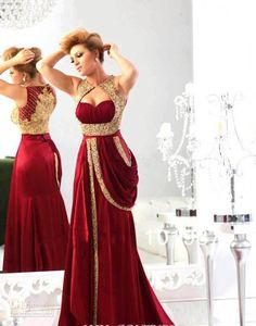 2014 New Arrival Sweetheart Chiffon Burgundy Prom Dress Runway Gold Embroidery Crystal Beaded Arabic Evening Dresses Long