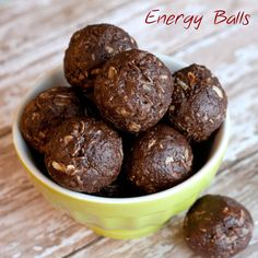 Energy Balls:  A healthy pick-me-up snack on the run! Made these today! Left out the wheat germ recipe made 16 balls @ 88 calories each. Yummy!!