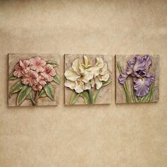 Spring Mementos Wall Plaque Set Multi Pastel Set of Three