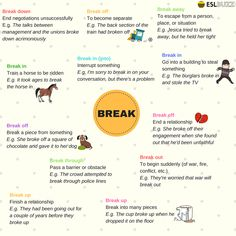 Commonly used phrasal verbs that include the verb 'break'...