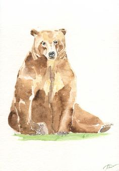 Watercolor painting of the bear, wildlife original wall art, nature art, watercolor cozy artwork for children's room