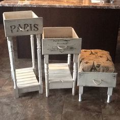 Old drawers, turned into side tables, and foot ottoman ..