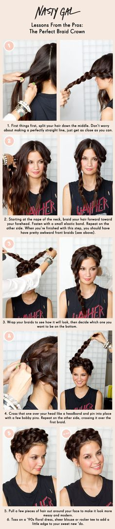 Pretty Braided Crown Hairstyle Tutorials and Ideas / http://www.himisspuff.com/easy-diy-braided-hairstyles-tutorials/26/