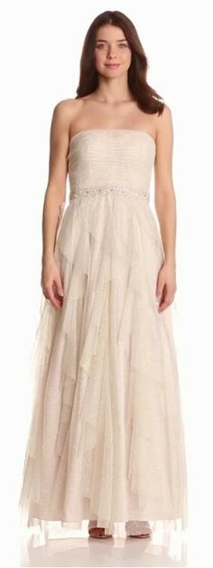 Ivory gold strapless beaded appliqué empire glitter mesh ball gown. Adrianna Papell on sale $72.52