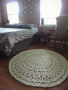 crochet rug ecru natural beige doily lace floor mat by evavillain