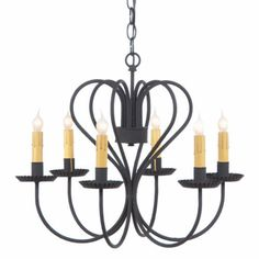 Large WROUGHT IRON HEART CHANDELIER 6 Candle Primitive Country Ceiling Light