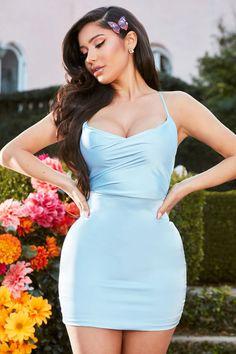 All To Myself Satin Mini Dress - Blue – Fashion Nova Jumpsuits For Women, Rompers Women, Blue Fashion, Girl Fashion, 2000s Fashion, Fashion Hair, Korean Fashion, Women's Fashion Dresses, Dress Outfits