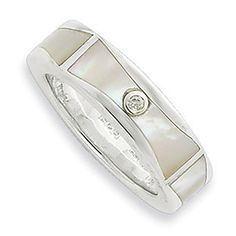 Sterling Silver Diamond Mother Of Pearl Ring Jewelry Available Exclusively at Gemologica.com