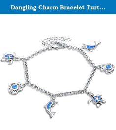 "Dangling Charm Bracelet Turtle, Crab, Dolphin Created Fire Blue Opal 925 Sterling Silver. Item Specifications: Bracelet Length: 7""+2"" extension. Metal type: 92.5% sterling silver. Gift box included. Excellent Gift. Highest quality guaranteed, if not your money back."