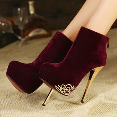 winter ol elegant platform stilettos red bottoms high heels boots faux suede ankle booties woman black burgundy size 35 - 39 http://zzkko.com/n1124851 $32.39             USD                                                                                                           $ USD                                                                                               € EUR                                                                                               $ ARS…