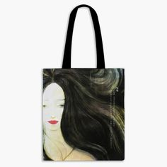 Guardian Spirits Cotton Tote Bag with Zipper Pocket - Snow Woman Japanese Folklore, Long Black Hair, She Was Beautiful, Tall Women, Watercolor And Ink, The Guardian, Cotton Tote Bags, Spirit, Snow