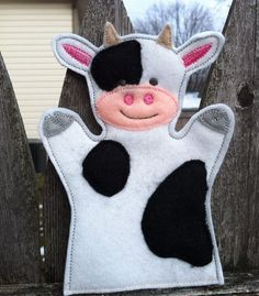 Cow  Farm Animal Felt Hand Puppet  KiD SiZe by ThatsSewPersonal, $7.50