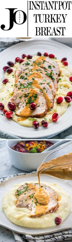 This super easy Instant Pot Turkey Breast is made in a fraction of the time and you'll end up with the juiciest turkey breast ever, plus make your own gravy right in the instant pot. www.jocooks.com #instantpotturkey via @jocooks
