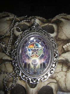 Wicca Wiccan Pegan Zodiac Pentagram 30x40mm Glass Cabachon Cameo Necklace