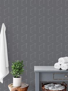 Sticker wallpaper easy DIY apply Paper free peel and stick selfadhesive textile based wallpaper - Silver Grey geometric Adhesive Wallpaper, Peel And Stick Wallpaper, Table Setting Photos, Glass Fridge, Minimalist Rugs, Serving Table, Grey Home Decor, Vintage Tile, Placemat Sets