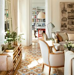 Natural light comfy bergere chairs and beautiful tiling Who wouldnt want to spend all day here Image via elmueble livingroom design tile naturallight bergeres interior Interior Design Inspiration, Home Decor Inspiration, Interior Minimalista, Living Spaces, Living Room, Creative Home, Traditional House, Sweet Home, Cottage