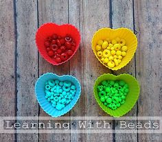Learning with Beads ~ 3 fun activities for learning colors, letters, sorting and fine motor skills.