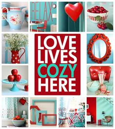moodboard aqua and red by AT