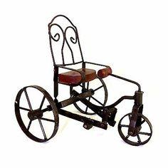 """Vintage Metal Bike Tricycle Cab Wood Wicker Metal Display Planter 11"""" Home Yard"""