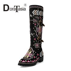 57.43$  Watch now - http://alilji.worldwells.pw/go.php?t=32761992065 - DoraTasia Ethnic Embroidery Knee High Riding Boots Women Winter Shoes With Warm Pointed Toe Buckle Long Woman Boots