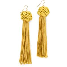 Vanessa Mooney The Astrid Knotted Tassel Earrings ($45) ❤ liked on Polyvore featuring jewelry, earrings, gold, vanessa mooney, tassle earrings, tassel jewelry, earrings jewelry and knot jewelry