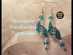 DIY Macrame Tutorial Turquoise Earrings - YouTube