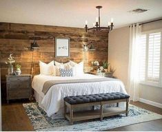 7 Magical Clever Tips: Master Bedroom Remodel Wainscoting rustic bedroom remodel offices.Spare Bedroom Remodel bedroom remodel on a budget thoughts. Rustic Bedroom Benches, Rustic Bedroom Design, Rustic Master Bedroom, Master Bedroom Makeover, Master Bedroom Design, Master Bedroom Wood Wall, Pallet Wall Bedroom, Small Room Bedroom, Cozy Bedroom