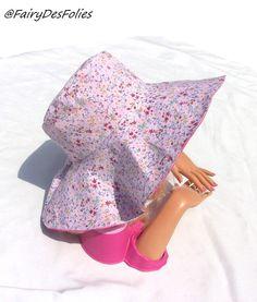 Capeline chapeau femme reversible coton liberty fleurs rose et lin rose