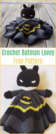 Amigurumi Crochet Batman Lovey Free Pattern-Amigurumi Crochet Bat Free Patterns