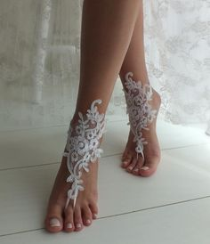 White Beach wedding barefoot sandals wedding shoes beach shoes bridal accessories bangle beach anklets bride bridesmaids gift Source by . Barefoot Sandals Wedding, Beach Wedding Shoes, Wedge Wedding Shoes, Beach Shoes, Barefoot Beach, Beach Sandals, Beach Wedding Outfits, Beach Wedding Groom Attire, Bridal Sandals